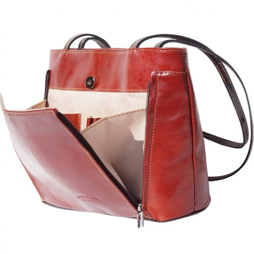 Bag Takara with double leather handle in genuine leather Colour brown dark brown for women