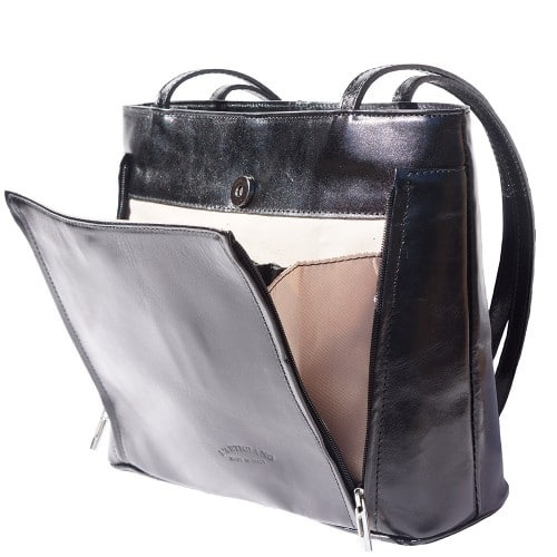 Bag Takara with double leather handle in genuine leather Colour black for women
