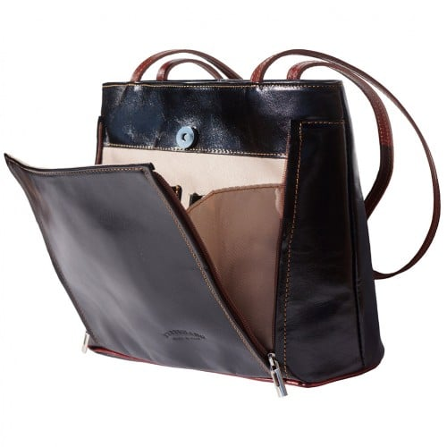 Bag Takara with double leather handle in genuine leather Colour black brown for women