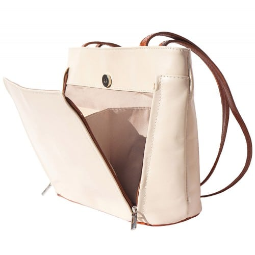 Bag Takara with double leather handle in genuine leather Colour beige brown for women
