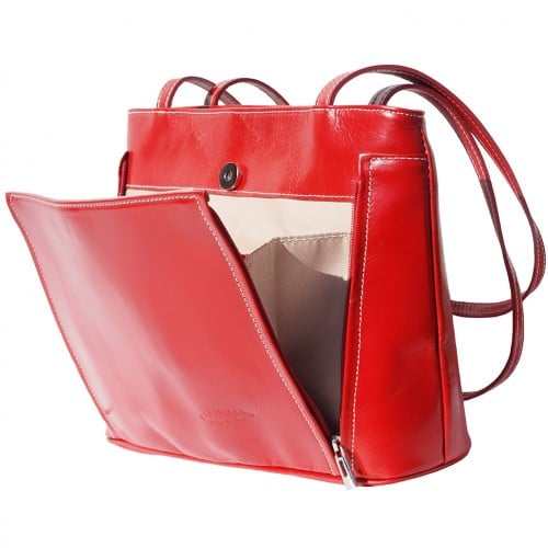 Bag Takara with double leather handle in genuine leather Colour dark red for women