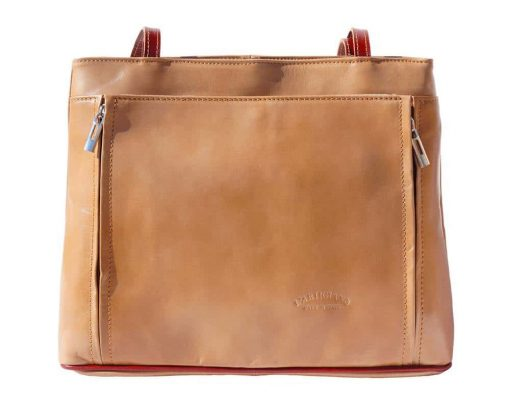 light taupe brown shoulder bag in natural leather Claudia for women