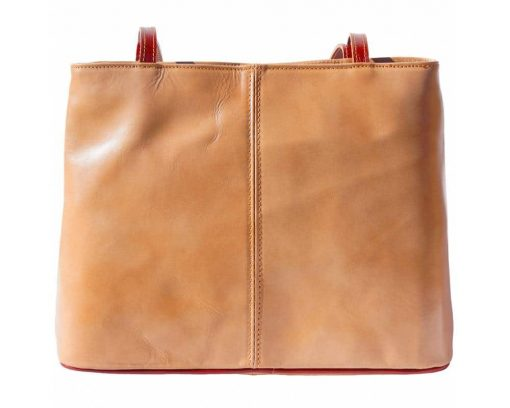 light taupe brown shoulder bag in genuine leather Claudia for women