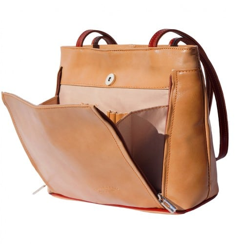 Bag Takara with double leather handle in genuine leather Colour light brown for women