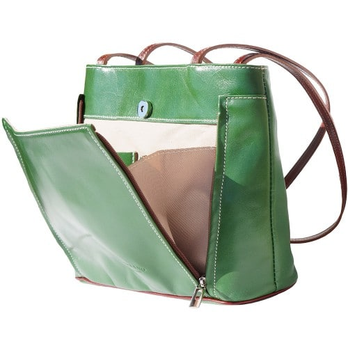 Bag Takara with double leather handle in genuine leather Colour Dark Green Brown for women