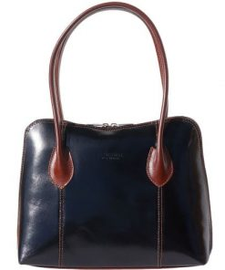genuine leather handbag Genoveffa colour black brown for women