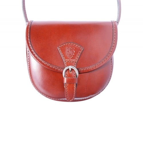 mini cross body bag in shiny cow genuine leather Zada colour brown for women