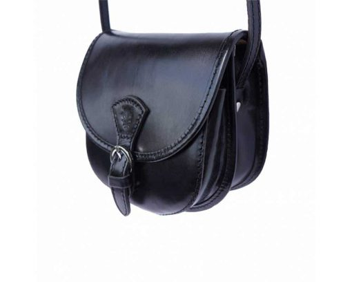 black cross body bag in natural leather Celica for women