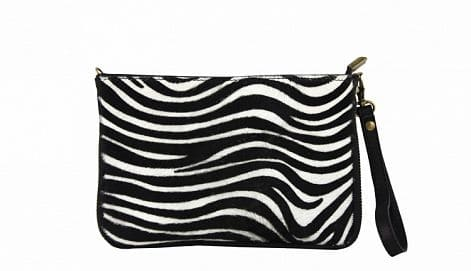 sale buy white black clutch Izusa in natural leather sauvage from italy discount for woman