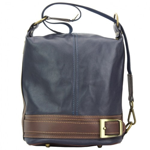 Backpack purse from genuine leather transformable in bucketbag Martina Colour dark blue brown for women