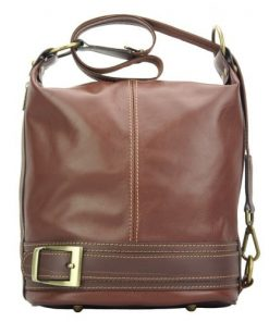 Backpack purse from genuine leather transformable in bucketbag Martina Colour brown dark brown for women