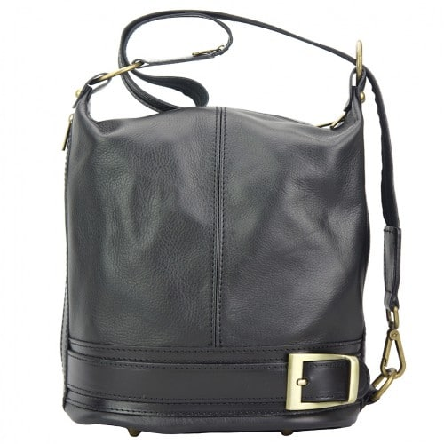 Backpack purse from genuine leather transformable in bucketbag Martina Colour black for women