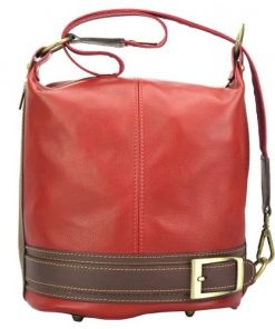 Backpack purse from genuine leather transformable in bucketbag Martina Colour red brown for women