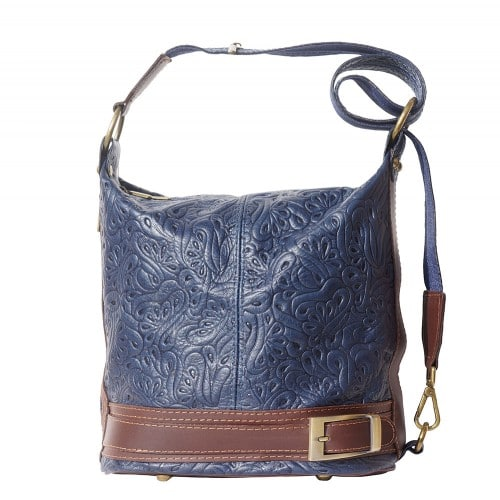 Bucket backpack purse transformable in bucket bag Aurora in genuine printed leather Colour dark blue brown for women