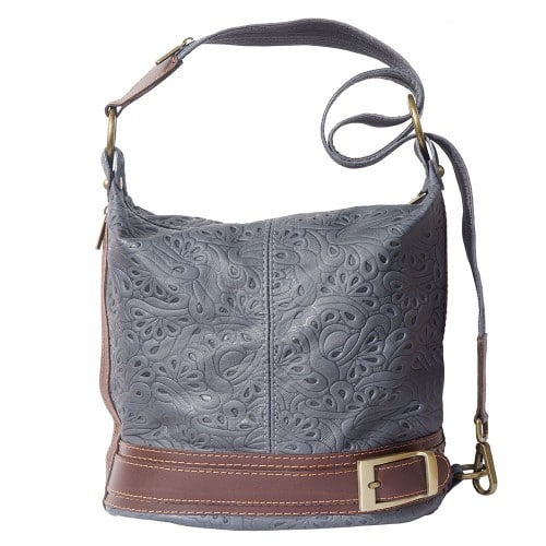 Bucket backpack purse transformable in bucket bag Aurora in genuine printed leather Colour dark blue brown photo for women