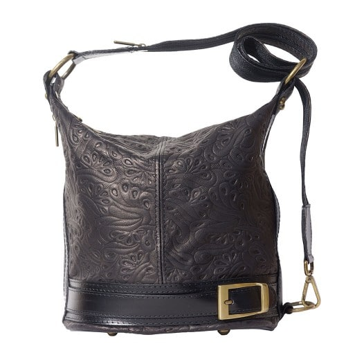 Bucket backpack purse transformable in bucket bag Aurora in genuine printed leather Colour black for women