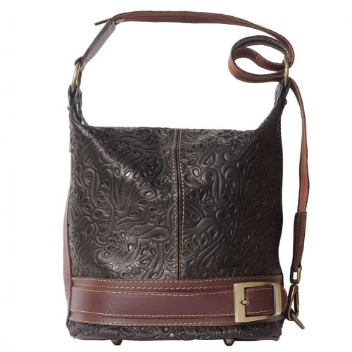 Bucket backpack purse transformable in bucket bag Aurora in genuine printed leather Colour Black Brown for women