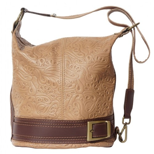 Bucket backpack purse transformable in bucket bag Aurora in genuine printed leather Colour taupe Brown for women