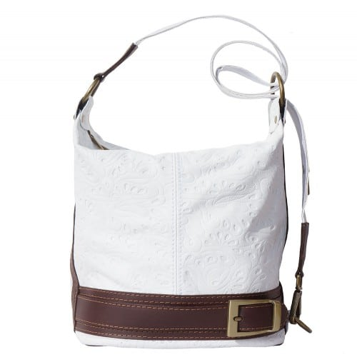 Bucket backpack purse transformable in bucket bag Aurora in genuine printed leather Colour dark white brown for women