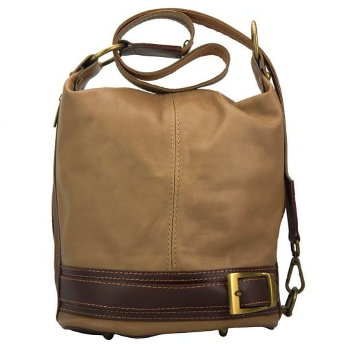 Backpack purse from genuine leather transformable in bucketbag Martina Colour Light taupe Brown for women