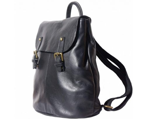 black backpack of soft leather for man from italy
