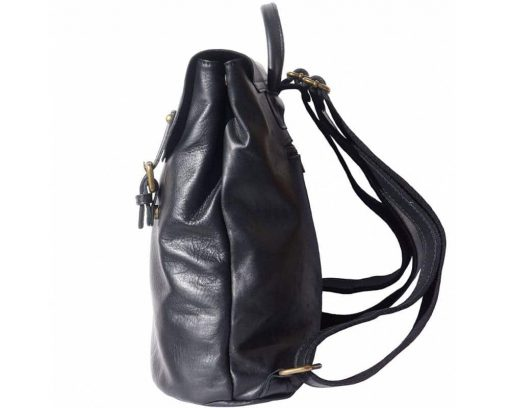 black backpack of leather for man