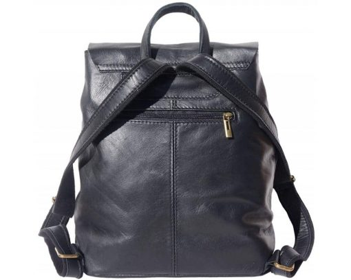 black backpack of leather for man from italy