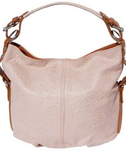 Shoulder bag Contessa in genuine printed calf-skin leather Colour pink tan for women