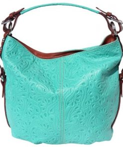 Shoulder bag Contessa in genuine printed calf-skin leather Colour turquoise brown for women