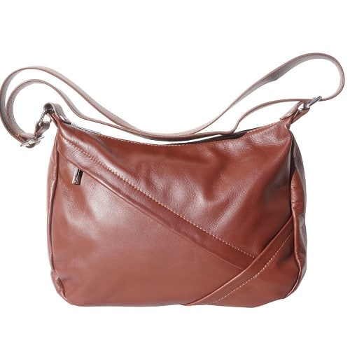 shoulder bag Zuleika in genuine leather colour brown for women