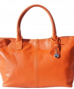 genuine Leather shopping bag Eglantina Colour orange photo for women