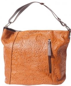 Printed calf genuine leather shoulder bag Zilla Colour tan brown for women