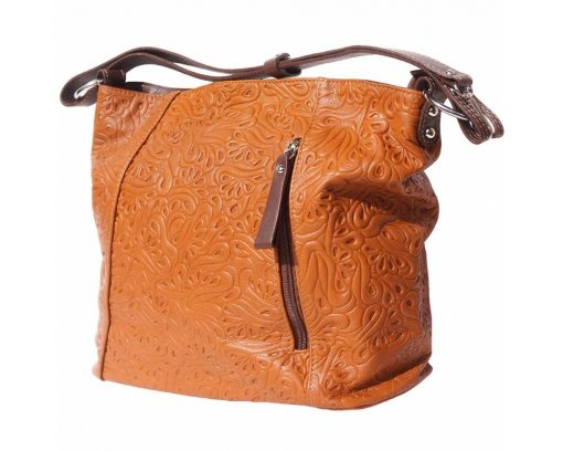 tan bag in printed real soft leather Oatbald for women