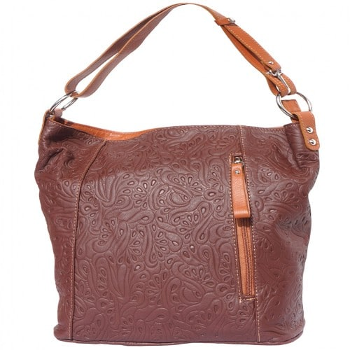 Printed calf genuine leather shoulder bag Zilla Colour brown Tan for women
