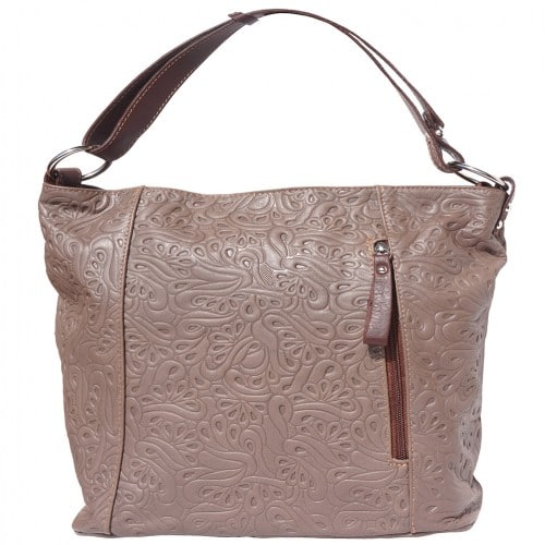 Printed calf genuine leather shoulder bag Zilla Colour dark taupe brown for women