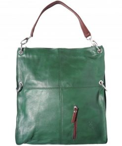 Shoulder bag Zorya in genuine leather colour dark green brown for women
