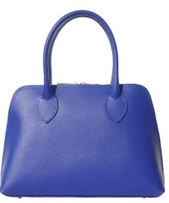 Saffiano genuine leather hand bag Ortensia Colour electric blue blue for women