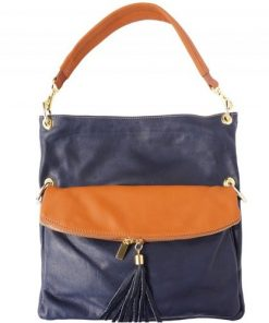 Genuine calf-skin leather bag Yama with strap Colour blue Tan