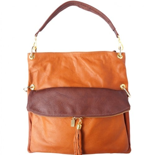 Genuine calf-skin leather shoulder bag clutch Yama with strap Colour Tan brown
