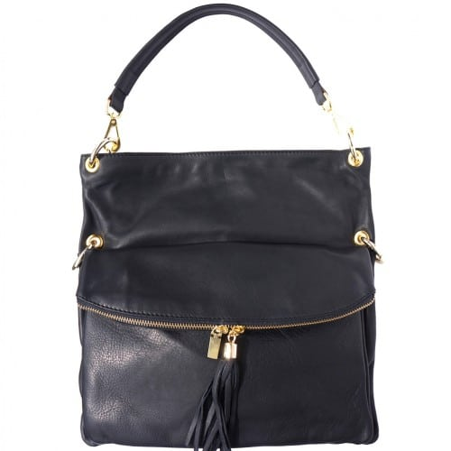 Genuine calf-skin leather shoulder bag clutch Yama with strap Colour black for women