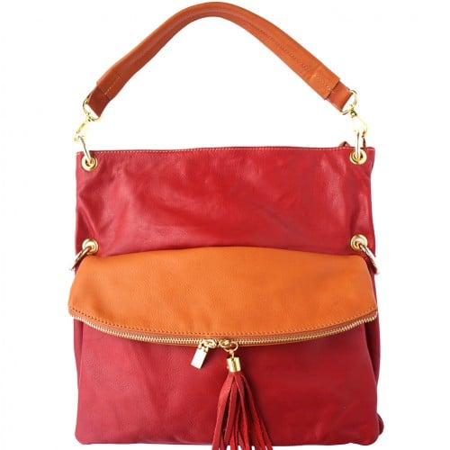 Genuine calf-skin leather shoulder bag clutch Yama with strap Colour red Tan for women