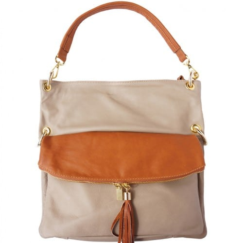 Genuine calf-skin leather shoulder bag clutch Yama with strap Colour Light toupe Tan for women