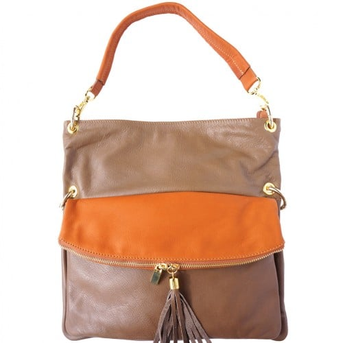 Genuine calf-skin leather shoulder bag clutch Yama with strap Colour dark taupe Tan for women