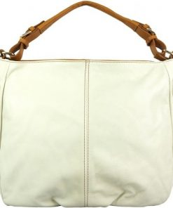 white tan shoulder bag in supple genuine calfskin Annunziata women