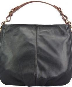 black brown shoulder bag in supple genuine calfskin Annunziata women
