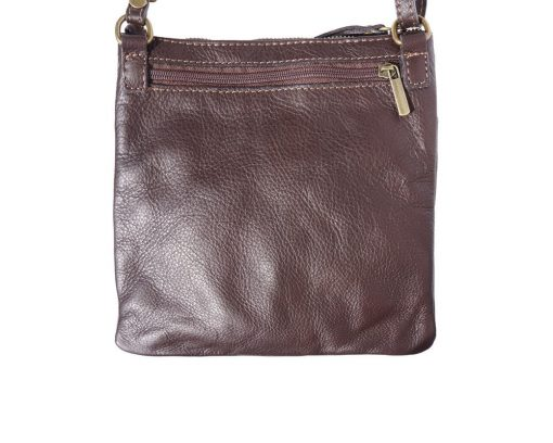 brown messenger bag in leather Roman for man