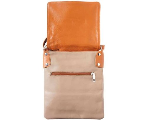 light taupe tan cross body bag in genuine leather Oakley for woman