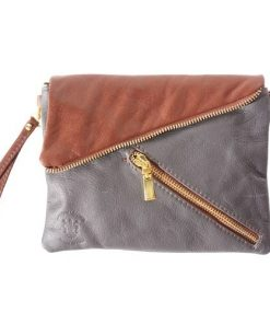 clutch Zahara in genuine soft leather colour dark grey brown for women
