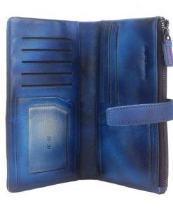 Wallet Raimonda in vintage genuine leather Colour blue for women