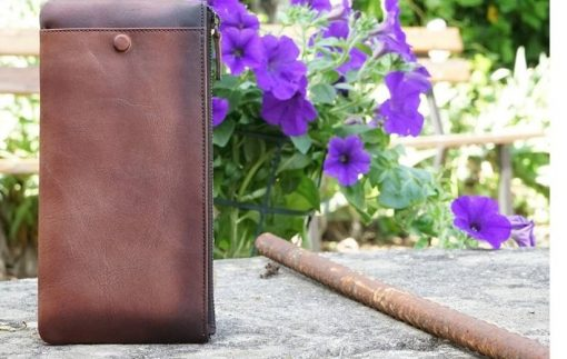 brown wallet in vintage natural leather Minerva for woman